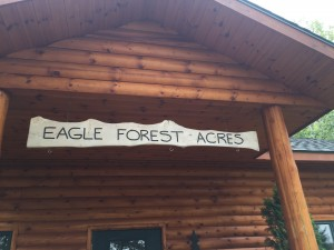 Sign on the lodge at Eagle Forest Acres