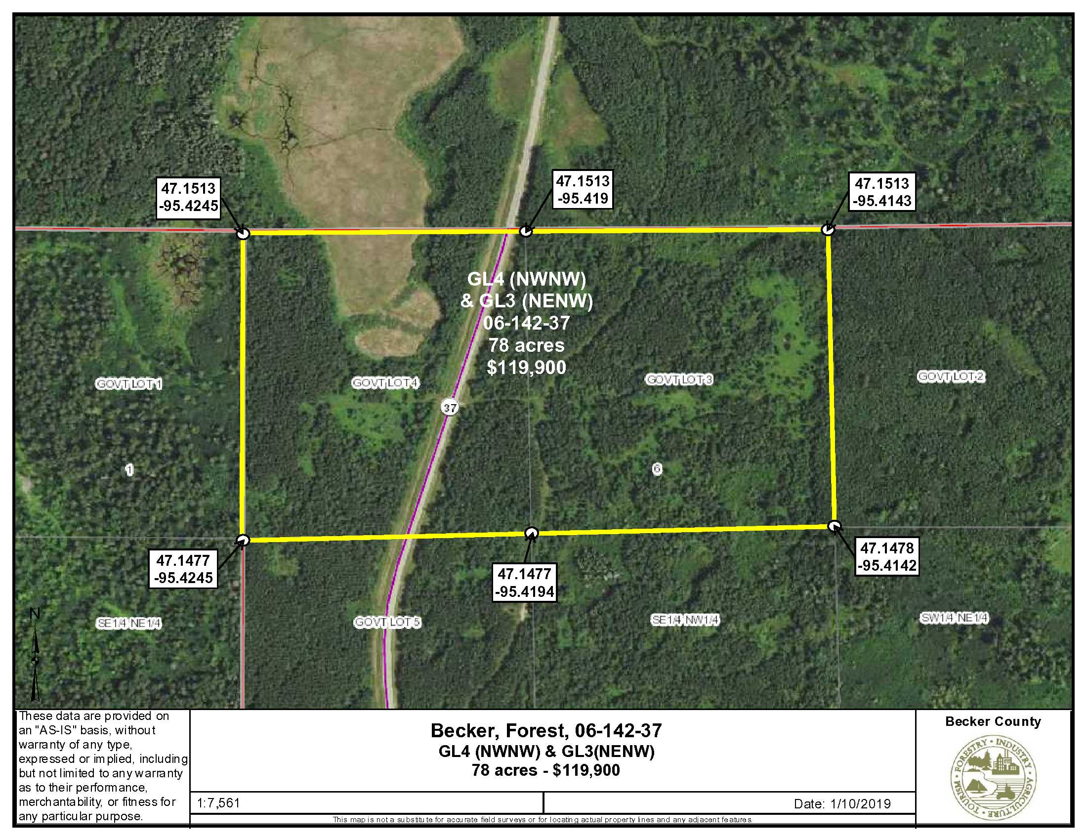GL3 (NENW) & GL4(NWNW), Long Lost Lake Rd (Co Rd 37), Forest Twp, Becker Co