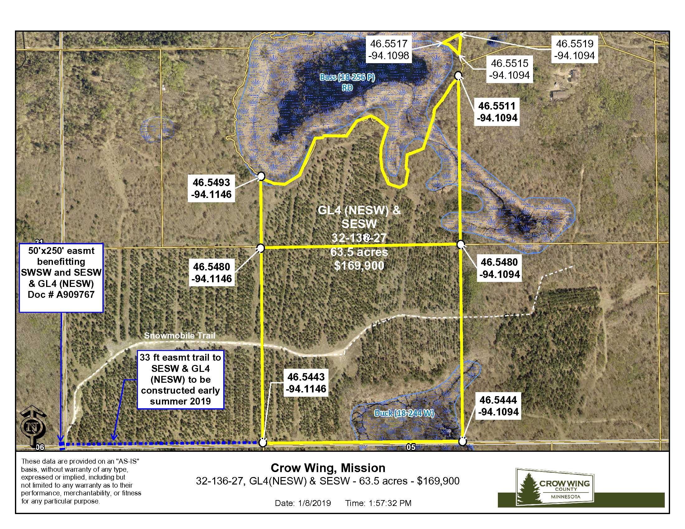 Access from Old Mill Rd., Mission Twp, Crow Wing County