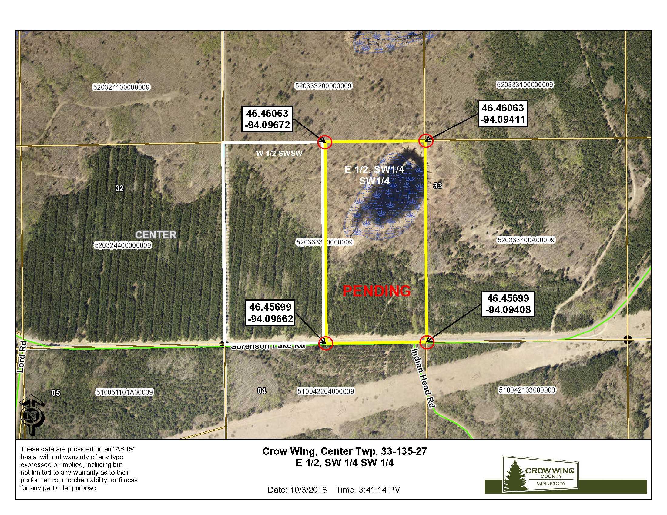 Tract F, E1/2 SWSW, 33-135-27, Sorenson Lake Rd., Merrifield