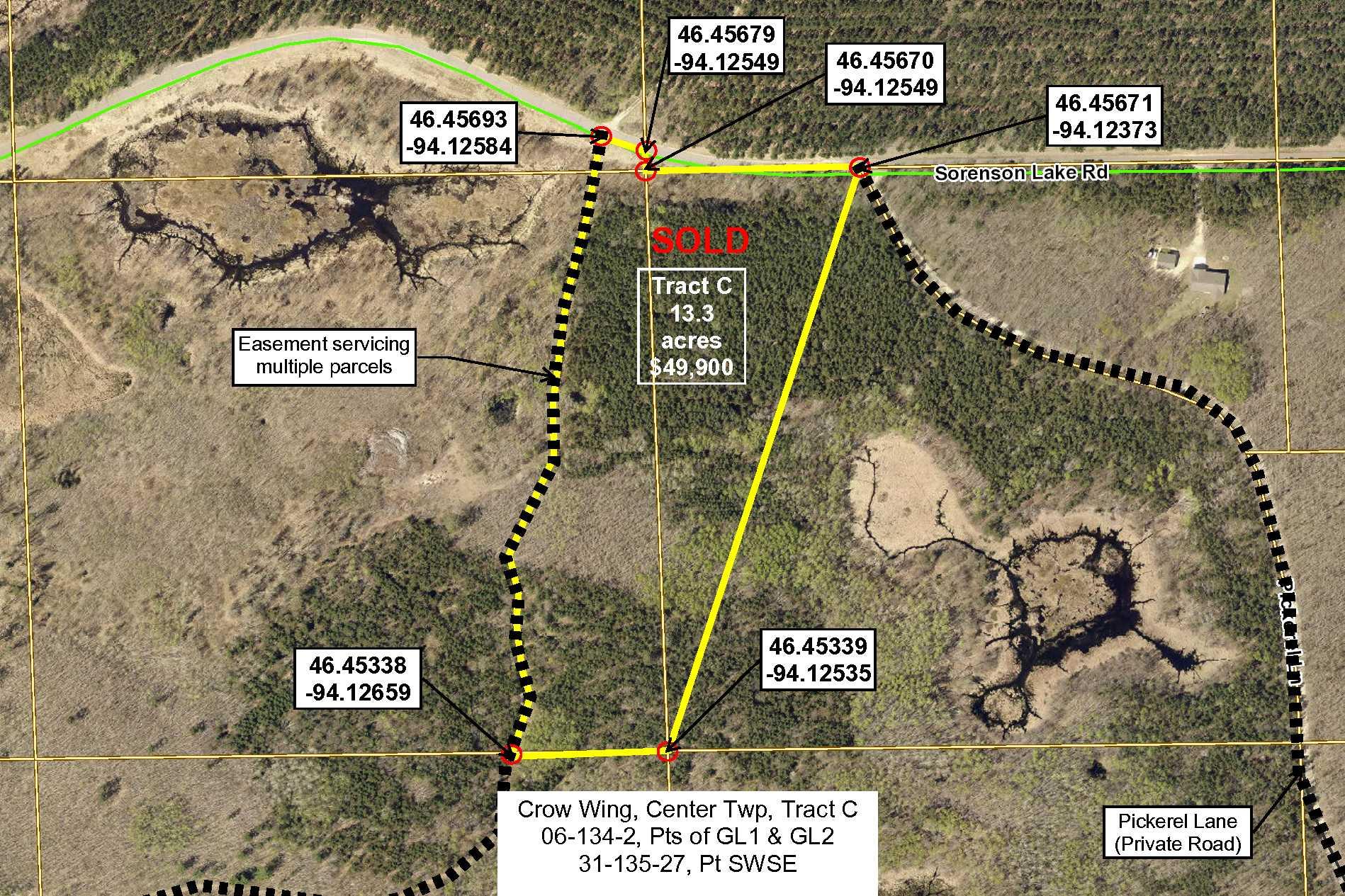 Tract C, Pt GL1(NENE) & Pt GL2(NWNE), 06-134-27  AND Pt SWSE, 31-135-27, Sorenson Lk Rd, Merrifield,