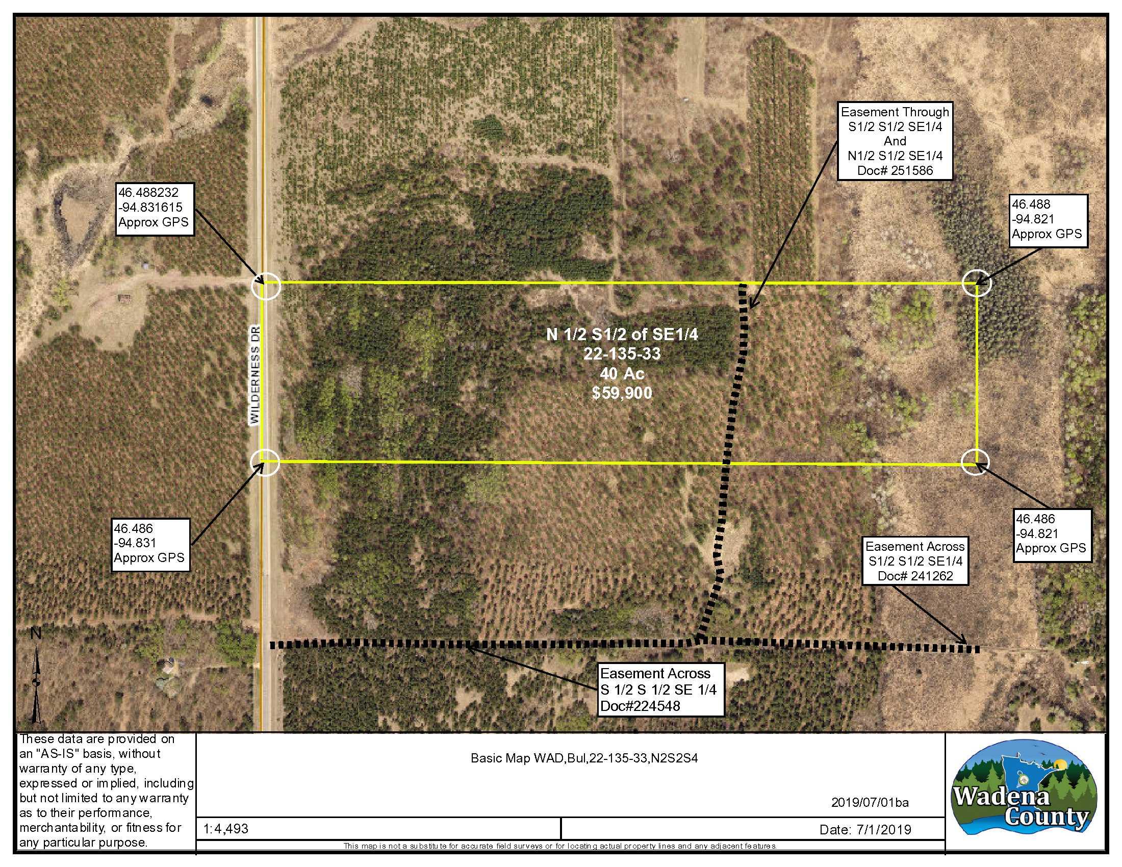 N1/2, S1/2, SE1/4 Wilderness Dr., Bullard Twp., Staples, Wadena County