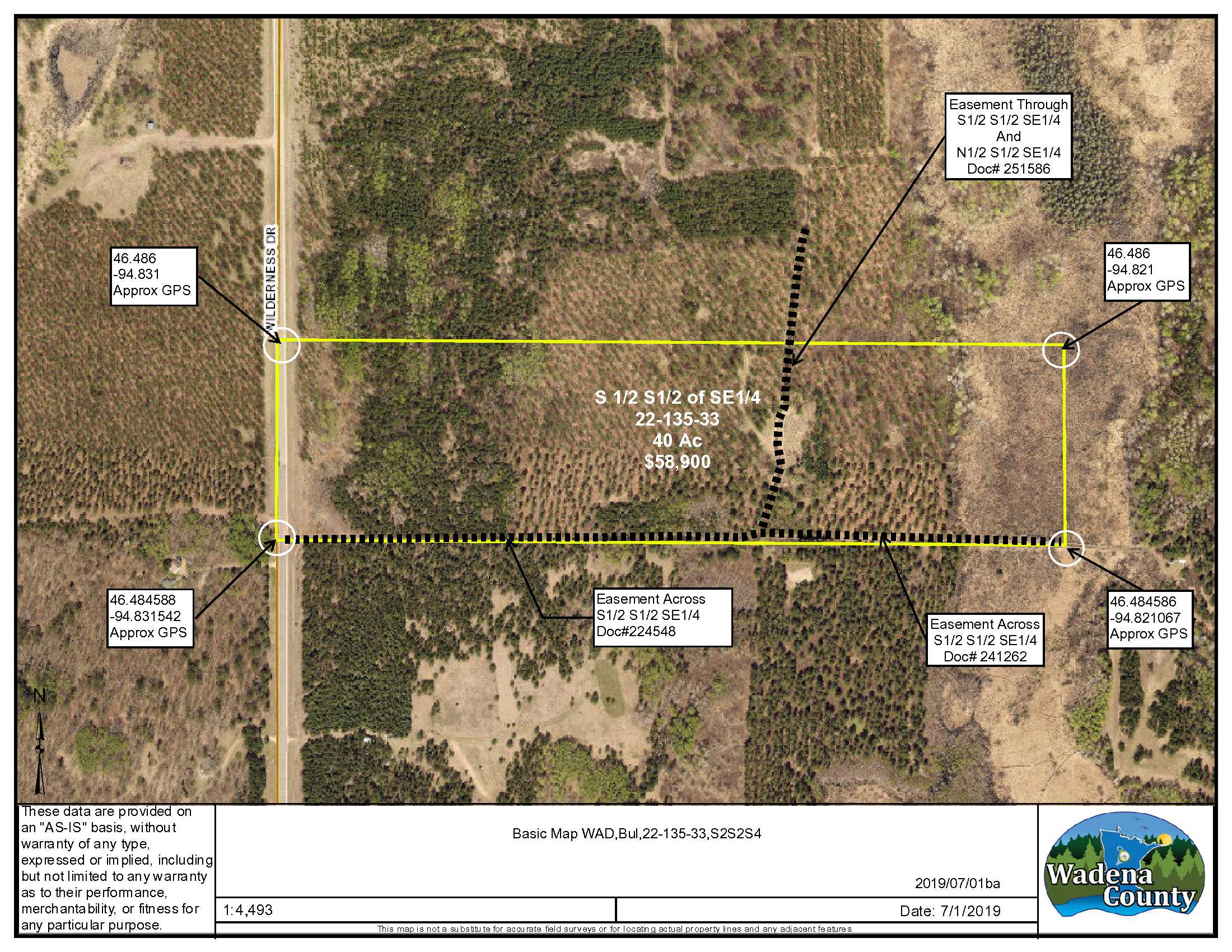S½, S½, SE¼ Wilderness Dr., Bullard Twp., Staples, Wadena County