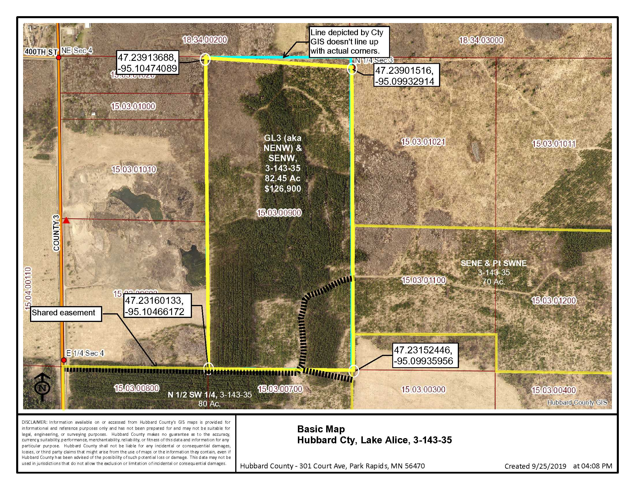 GL3(aka NENW) & SENW, Co Rd 3, Lake Alice Twp, Laporte, Hubbard Co
