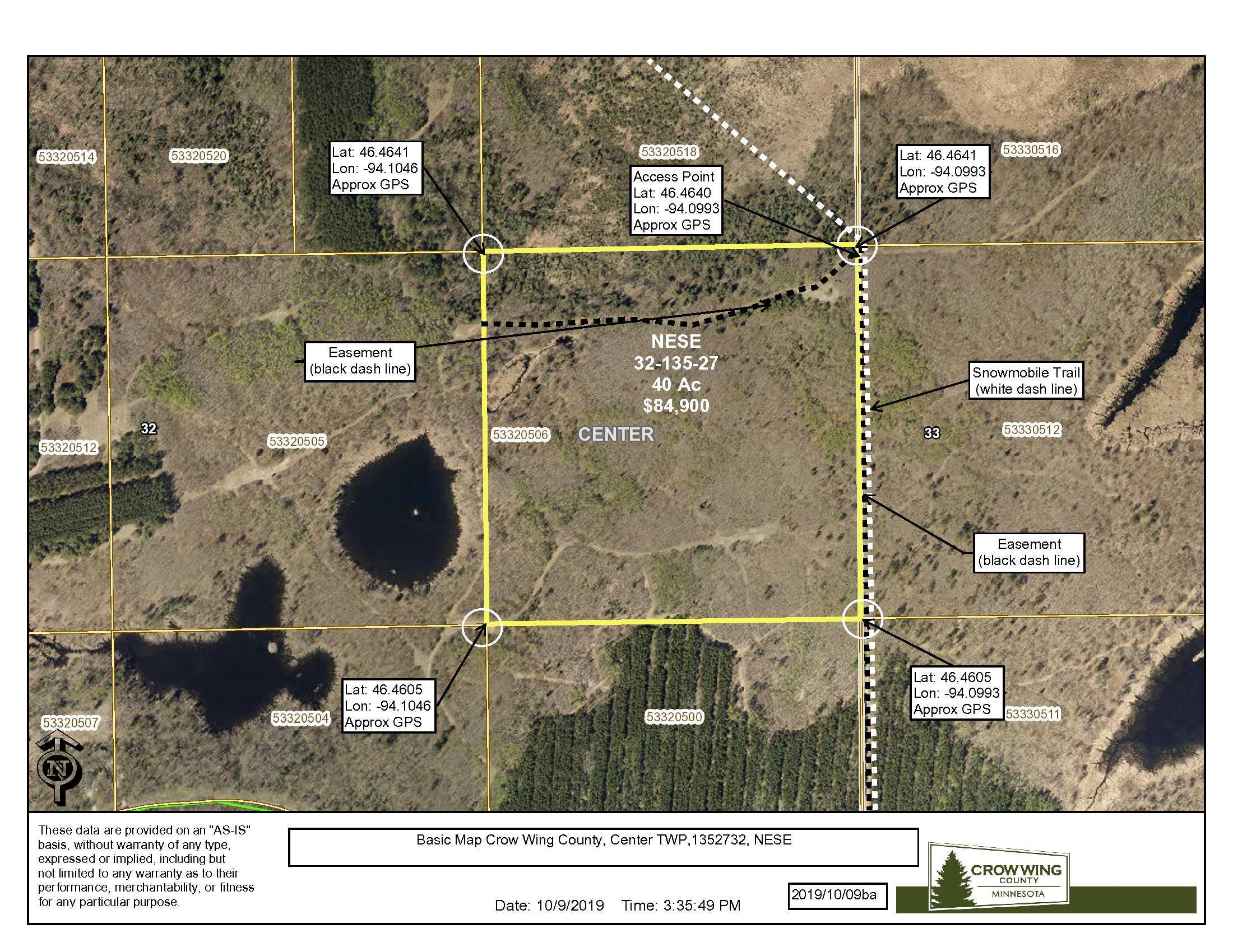 NESE, Sorenson Lake Rd ,Center Twp, Merrifield, Crow Wing County.
