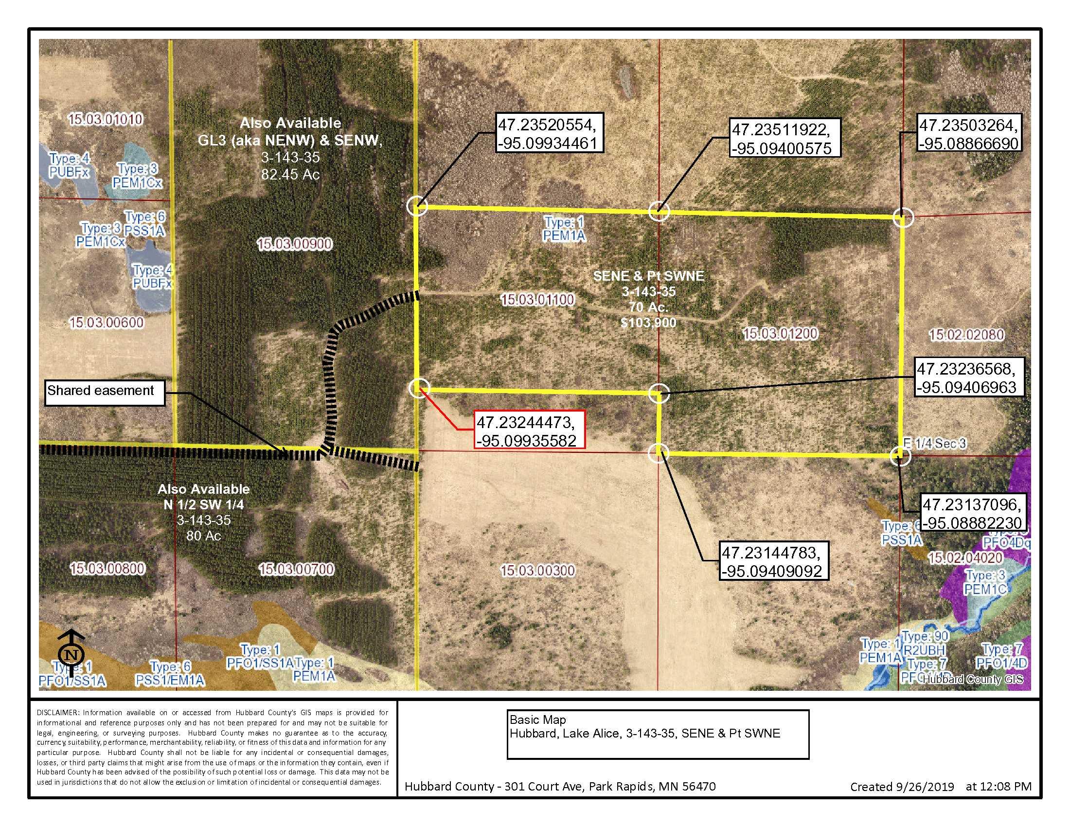 SENE & Pt SWNE, 03-143-35, Co Rd 3, Lake Alice Twp, Laporte, Hubbard Co