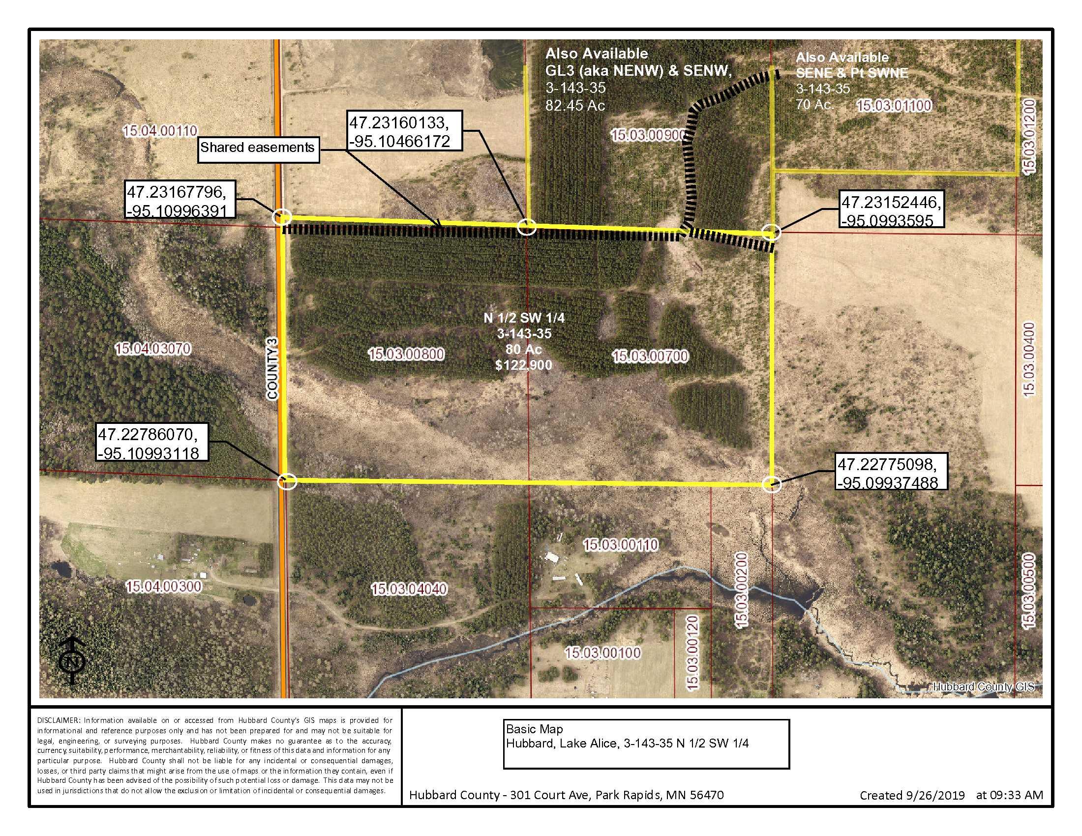N ½ SW ¼, 3-143-35, Co Rd 3, Lake Alice Twp, Laporte, Hubbard Co
