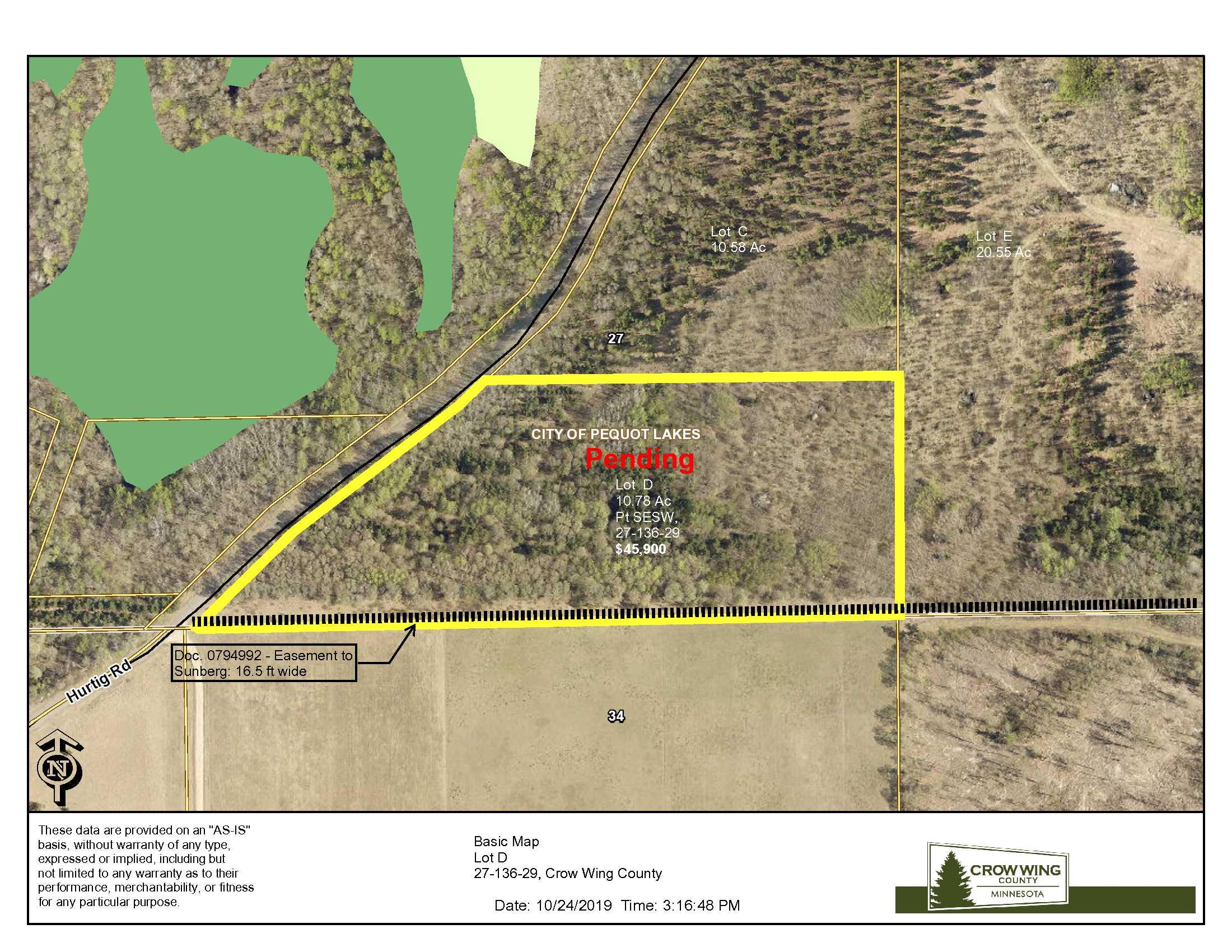 Lot D, 27-136-29, Hurtig Road, Pequot Lakes, Crow Wing Co