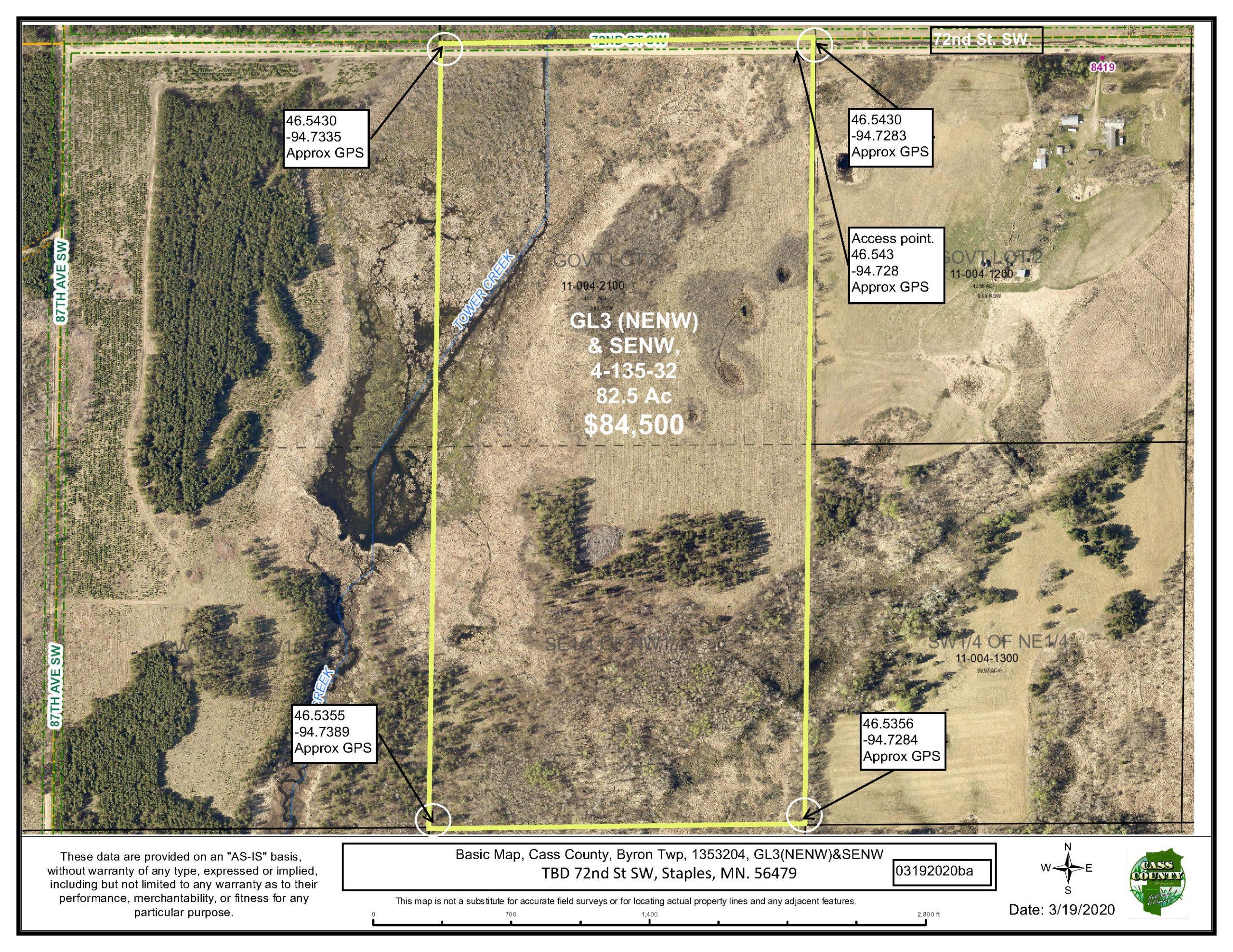 TBD 72nd St SW, GL3(NENW) & SENW, 04-135-32, Byron, Staples, Cass County