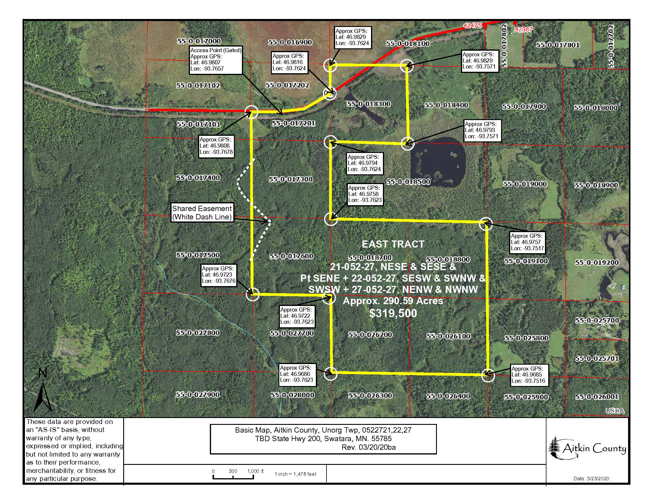 East Tract, 21&22&27-052-27, State Hwy #200, Unorganized, Swatara, Aitkin