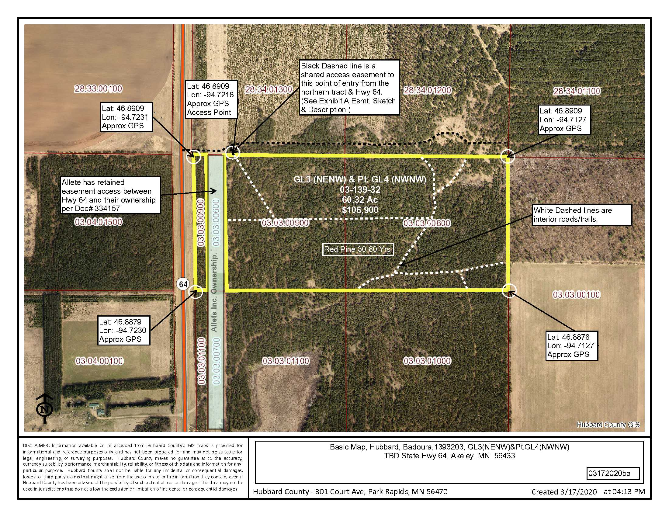 GL3(NENW) & Pt GL4(NWNW), State Hwy #64, Baduora, Akeley, Hubbard